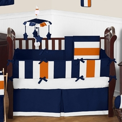 Navy Blue And Orange Stripe Baby Bedding 9pc Crib Set By Sweet Jojo Designs