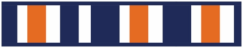 Navy Blue and Orange Stripe Childrens and Teens Modern Wall Paper Border - Click to enlarge