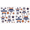 Navy Blue and Orange Stripe Childrens and Teens Wall Decal Stickers - Set of 4 Sheets