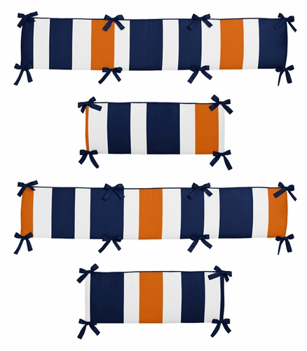 Navy Blue and Orange Stripe Collection Crib Bumper by Sweet Jojo Designs - Click to enlarge