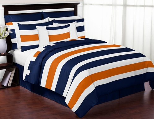 Navy Blue and Orange Stripe 4pc Twin Teen Bedding Set Collection - Click to enlarge
