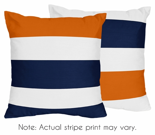 Navy Blue and Orange Stripe Decorative Accent Throw Pillows - Set of 2 only $46.99