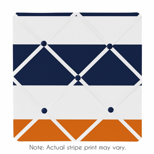 Navy Blue and Orange Stripe Fabric Memory/Memo Photo Bulletin Board - Click to enlarge