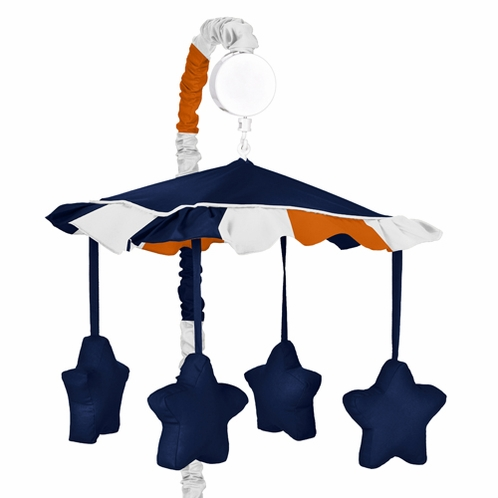 Navy Blue and Orange Stripe Musical Baby Crib Mobile by Sweet Jojo Designs - Click to enlarge