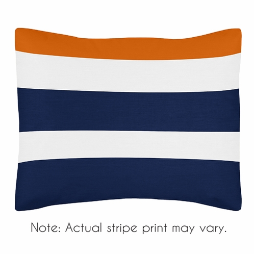 Navy Blue and Orange Stripe Pillow Sham by Sweet Jojo Designs - Click to enlarge