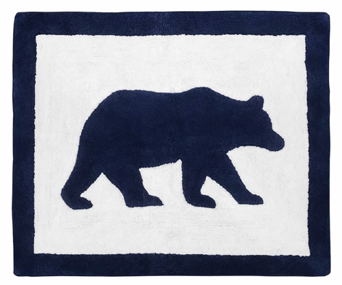 Navy Blue and White Accent Floor Rug or Bath Mat for Big Bear Collection by Sweet Jojo Designs - Click to enlarge
