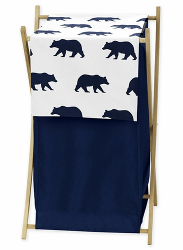 Navy Blue and White Baby Kid Clothes Laundry Hamper for Big Bear Collection - Click to enlarge
