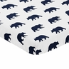 Navy Blue and White Baby or Toddler Fitted Mini Portable Crib Sheet for Big Bear Collection by Sweet Jojo Designs