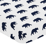Navy Blue and White Bear Print Baby or Toddler Fitted Crib Sheet for Big Bear Collection