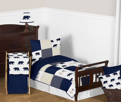 Navy Blue, Gold, and White Big Bear Boy Toddler Kid Childrens Bedding Set by Sweet Jojo Designs - 5 pieces Comforter, Sham and Sheets - Click to enlarge