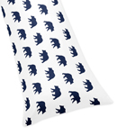 Navy Blue and White Body Pillow Case Cover for Big Bear Collection (Pillow Not Included)