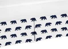 Navy Blue and White Boy Pleated Crib Bed Skirt Dust Ruffle for Big Bear Collection