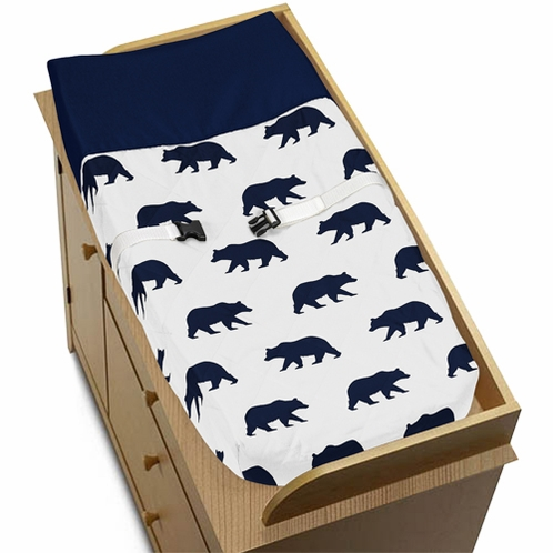 Navy Blue and White Changing Pad Cover for Big Bear Collection - Click to enlarge