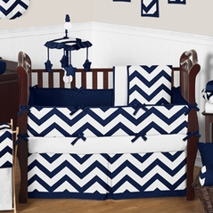 Navy And White Chevron Zigzag Baby Bedding 9pc Crib Set By Sweet Jojo Designs