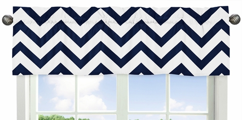 Navy and White Chevron�Collection Zig Zag Window Valance - Click to enlarge