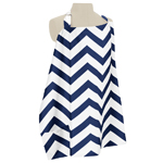Navy Blue and White Chevron Zig Zag Infant Baby Breastfeeding Nursing Cover Up Apron by Sweet Jojo Designs