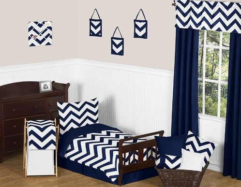 Navy and White Chevron Toddler Bedding - 5pc Set by Sweet Jojo Designs - Click to enlarge