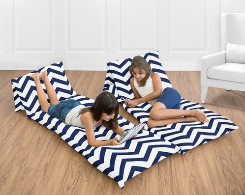 Navy Blue and White Chevron Zig Zag Teen Floor Pillow Case Lounger Cushion Cover by Sweet Jojo Designs - Click to enlarge