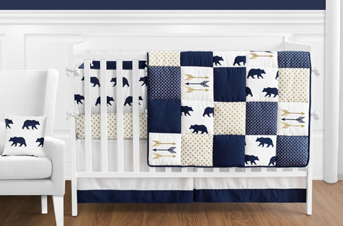 Navy Blue, Gold, and White Patchwork Big Bear Boy Baby Crib Bedding Set with Bumper by Sweet Jojo Designs - 9 pieces - Click to enlarge