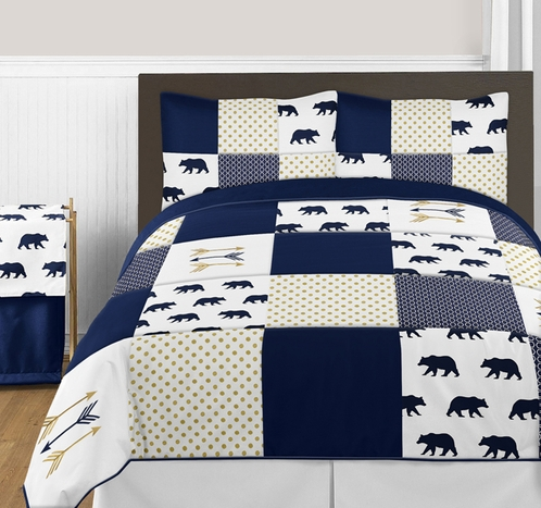 Navy Blue, Gold, and White Big Bear Boy Full / Queen Bedding Comforter Set Kids Children by Sweet Jojo Designs - 3 pieces - Click to enlarge