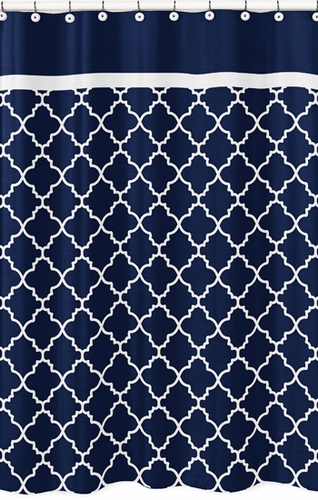Navy Blue And White Modern Bathroom Fabric Bath Shower Curtain For Trellis Lattice Collection By Sweet
