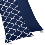 Navy Blue and White Modern Body Pillow Case Cover for Trellis Lattice Collection by Sweet Jojo Designs (Pillow Not Included)