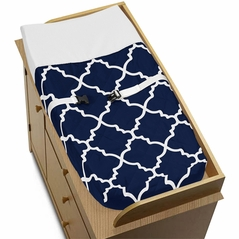 Navy Blue and White Modern Changing Pad Cover for Trellis Lattice Collection by Sweet Jojo Designs