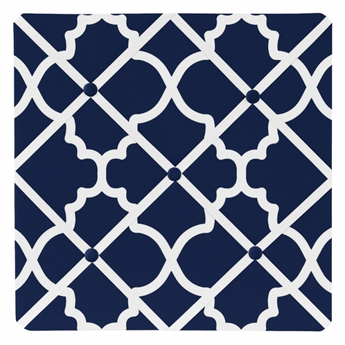 Navy Blue and White Modern Fabric Memory Memo Photo Bulletin Board for Trellis Lattice Collection by Sweet Jojo Designs - Click to enlarge