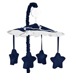 Navy Blue and White Modern Musical Baby Crib Mobile for Trellis Lattice Collection by Sweet Jojo Designs