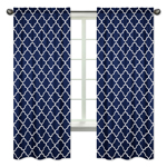 Navy Blue and White Modern Window Treatment Panels Curtains for Trellis Lattice Collection by Sweet Jojo Designs - Set of 2