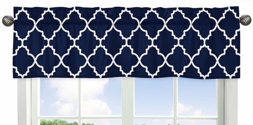 Navy Blue and White Modern Window Treatment Valance for Trellis Lattice Collection by Sweet Jojo Designs - Click to enlarge