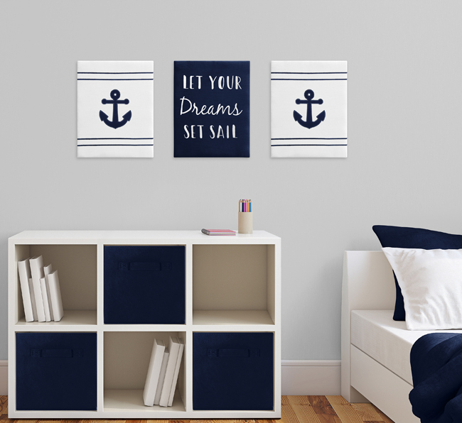 Navy Blue And White Nautical Wall Art Room Decor Hangings For Baby Nursery Kids Childrens Anchors Away Collection By Sweet Jojo Designs Set Of 3