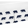 Navy Blue and White Pleated Toddler Bed Skirt Dust Ruffle for Big Bear Collection