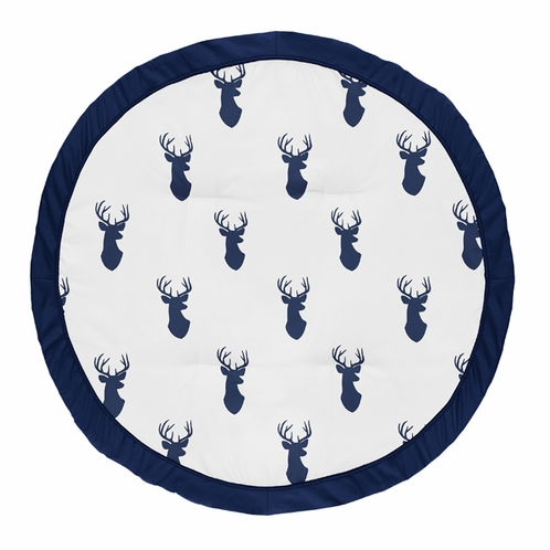 Navy Blue and White Stag Playmat Tummy Time Baby and Infant Play Mat for Woodland Deer Collection by Sweet Jojo Designs - Click to enlarge