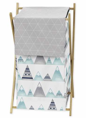 Navy Blue, Aqua and Grey Aztec Baby Kid Clothes Laundry Hamper for Mountains Collection by Sweet Jojo Designs - Click to enlarge