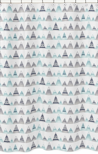 Navy Blue Aqua And Grey Aztec Bathroom Fabric Bath Shower Curtain For Mountains Collection By