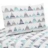 Navy Blue, Aqua and Grey Aztec Queen Sheet Set for Mountains Collection by Sweet Jojo Designs - 4 piece set
