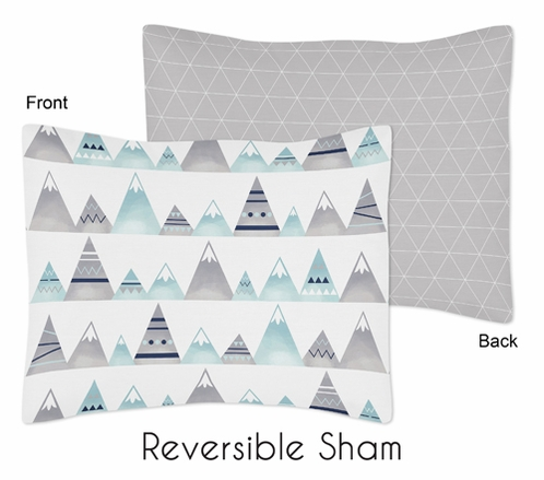 Navy Blue, Aqua and Grey Aztec Standard Pillow Sham for Mountains Collection by Sweet Jojo Designs - Click to enlarge