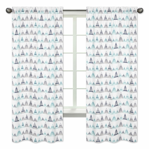 Navy Blue, Aqua and Grey Aztec Window Treatment Panels Curtains for Mountains Collection by Sweet Jojo Designs - Set of 2 - Click to enlarge