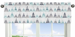 Navy Blue, Aqua and Grey Aztec Window Treatment Valance for Mountains Collection by Sweet Jojo Designs