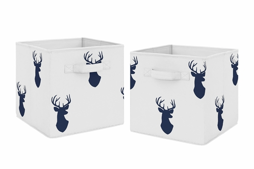 Navy Blue Deer Foldable Fabric Storage Cube Bins Boxes Organizer Toys Kids Baby Childrens for Woodland Deer Stag Collection by Sweet Jojo Designs - Set of 2 - Click to enlarge