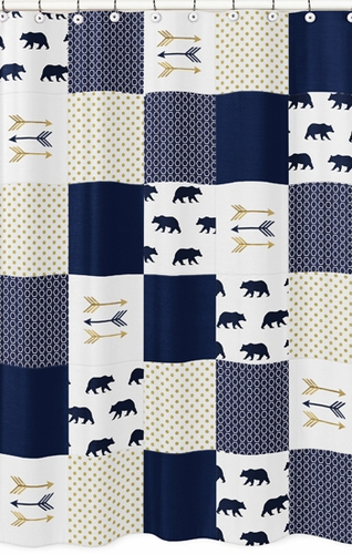 Navy Blue Gold And White Bathroom Fabric Bath Shower Curtain For Big Bear Collection