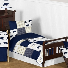 Navy Blue, Gold, and White Big Bear Boy Toddler Kid Childrens Bedding Set by Sweet Jojo Designs - 5 pieces Comforter, Sham and Sheets