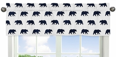 Navy Blue and White Window Treatment Valance for Big Bear Collection