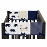 Navy Blue Gold and White Big Bear Side Crib Rail Guards Baby Teething Cover Protector Wrap Set of 2