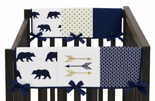 Navy Blue Gold and White Big Bear Side Crib Rail Guards Baby Teething Cover Protector Wrap Set of 2 - Click to enlarge
