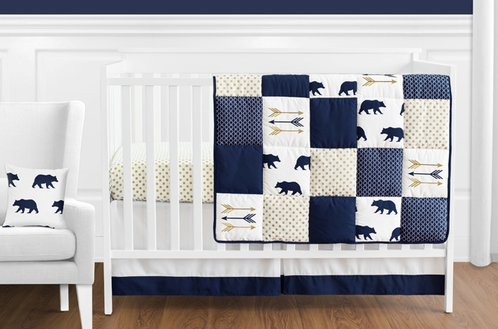 navy blue gold and white patchwork big bear boy baby crib bedding set without - White Baby Crib
