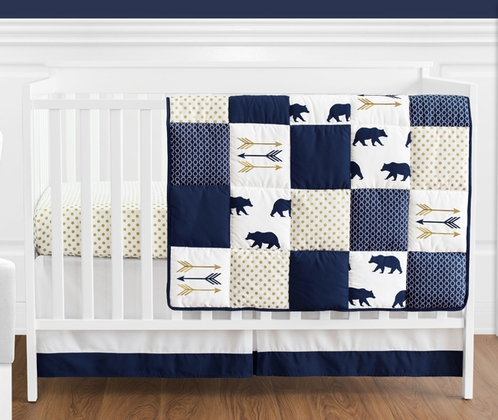 Navy Blue Gold And White Patchwork Bear Boy Baby Crib Bedding Set Without