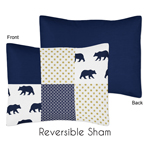 Navy Blue, Gold, and White Patchwork Standard Pillow Sham for Big Bear Collection