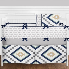 Navy Blue, Gold, Mint and Grey Boho Aztec Boy Baby Crib Bedding Set with Bumper - 9 Pieces